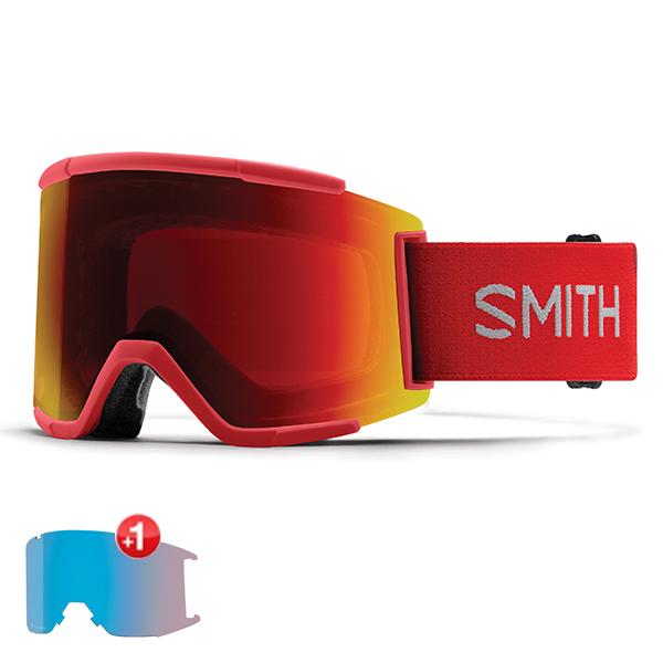 스미스 고글 스쿼드 XL+추가렌즈 #BSM805PF 1819 SMITH SQUAD XL RISE  SUN RED MIRROR+STORM ROSE FLASH