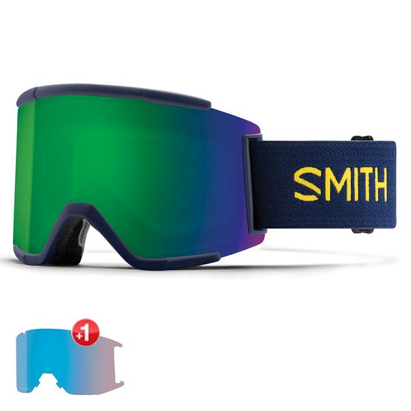 스미스 고글 스쿼드 XL+추가렌즈 #BSM8050H 1819 SMITH SQUAD XL INK NEU BAU  SUN GREEN MIRROR+STORM ROSE FLASH